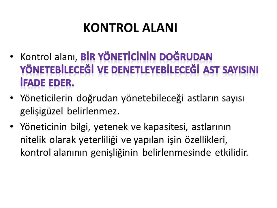 KONTROL ALANI Kontrol alanı, bİr yönetİcİnİn doğrudan yönetebİleceğİ ve denetleyebİleceğİ ast sayIsInI İfade eder.