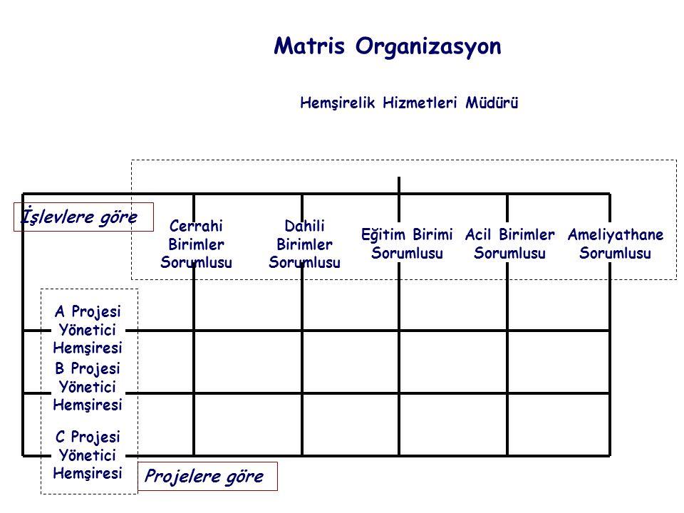 Matris Organizasyon İşlevlere göre Projelere göre