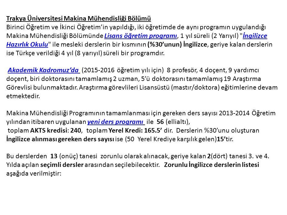 Trakya Üniversitesi Makina Mühendisliği Bölümü