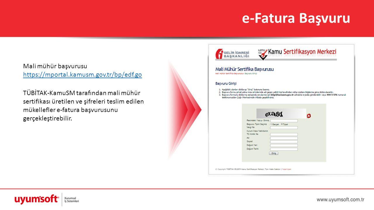 e-Fatura Başvuru Mali mühür başvurusu