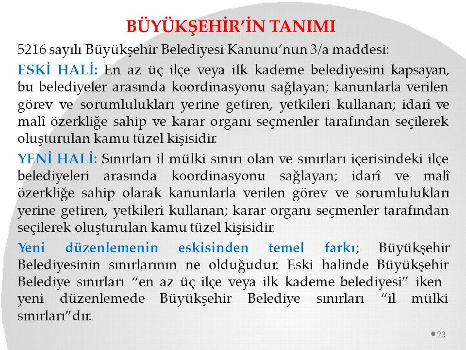 BÜYÜKŞEHİR'İN TANIMI 5216 sayılı Büyükşehir Belediyesi Kanunu'nun 3/a maddesi: