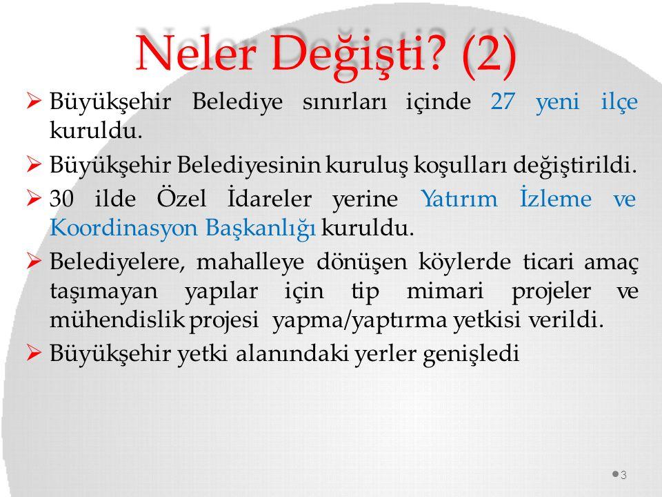 Neler Değişti (2) Büyükşehir Belediye sınırları içinde 27 yeni ilçe