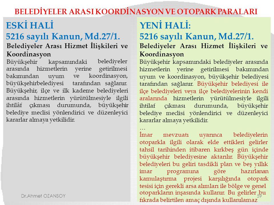 ESKİ HALİ 5216 sayılı Kanun, Md.27/1. YENİ HALİ: