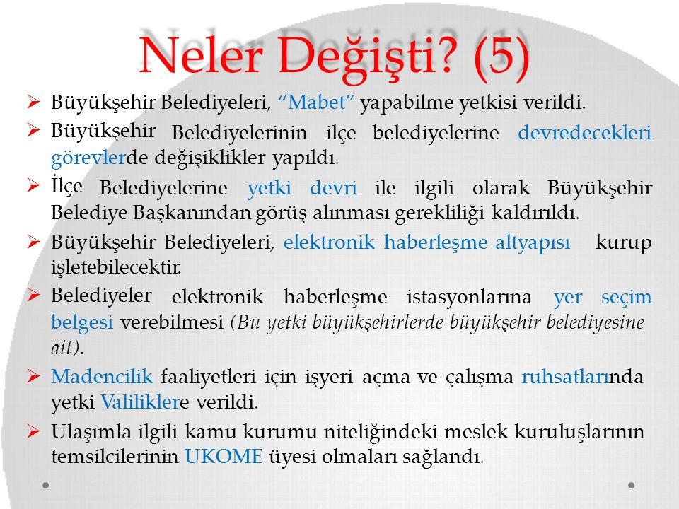 Neler Değişti (5) Büyükşehir Belediyeleri, Mabet yapabilme yetkisi verildi. Büyükşehir. Belediyelerinin ilçe belediyelerine devredecekleri.