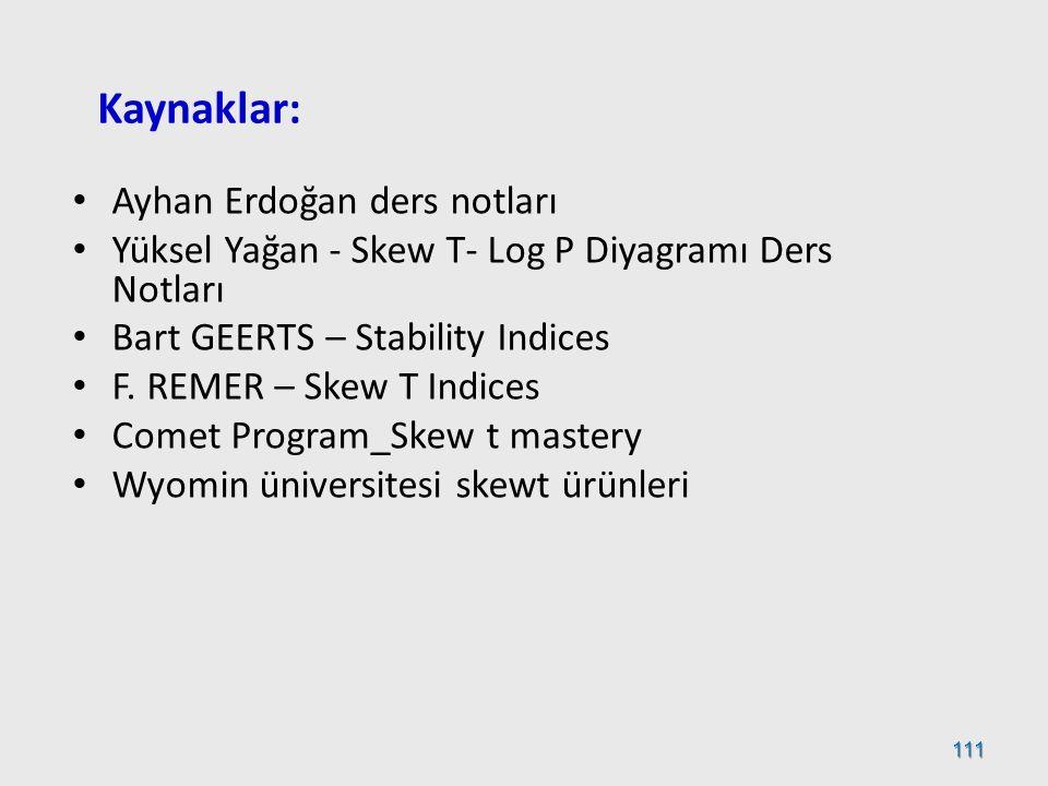 Kaynaklar: Ayhan Erdoğan ders notları