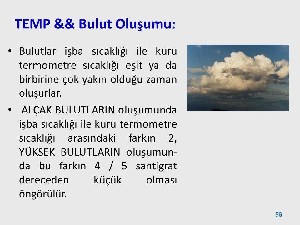 TEMP && Bulut Oluşumu: Bulutlar işba sıcaklığı ile kuru termometre sıcaklığı eşit ya da birbirine çok yakın olduğu zaman oluşurlar.