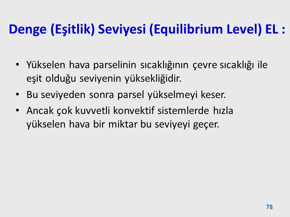 Denge (Eşitlik) Seviyesi (Equilibrium Level) EL :