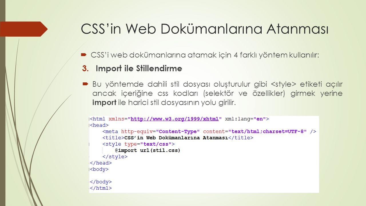 CSS'in Web Dokümanlarına Atanması