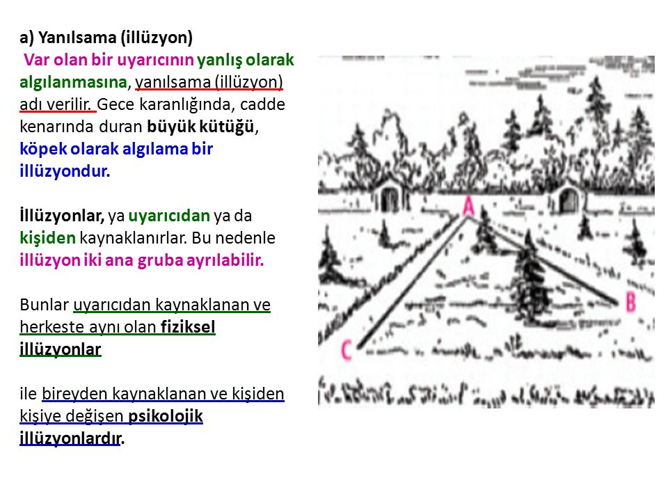 a) Yanılsama (illüzyon) Var olan bir uyarıcının yanlış olarak algılanmasına, yanılsama (illüzyon) adı verilir.