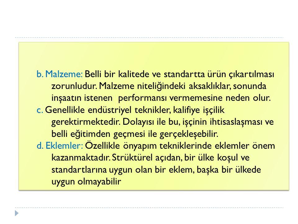 b. Malzeme: Belli bir kalitede ve standartta ürün çıkartılması zorunludur. Malzeme niteliğindeki aksaklıklar, sonunda inşaatın istenen performansı vermemesine neden olur.