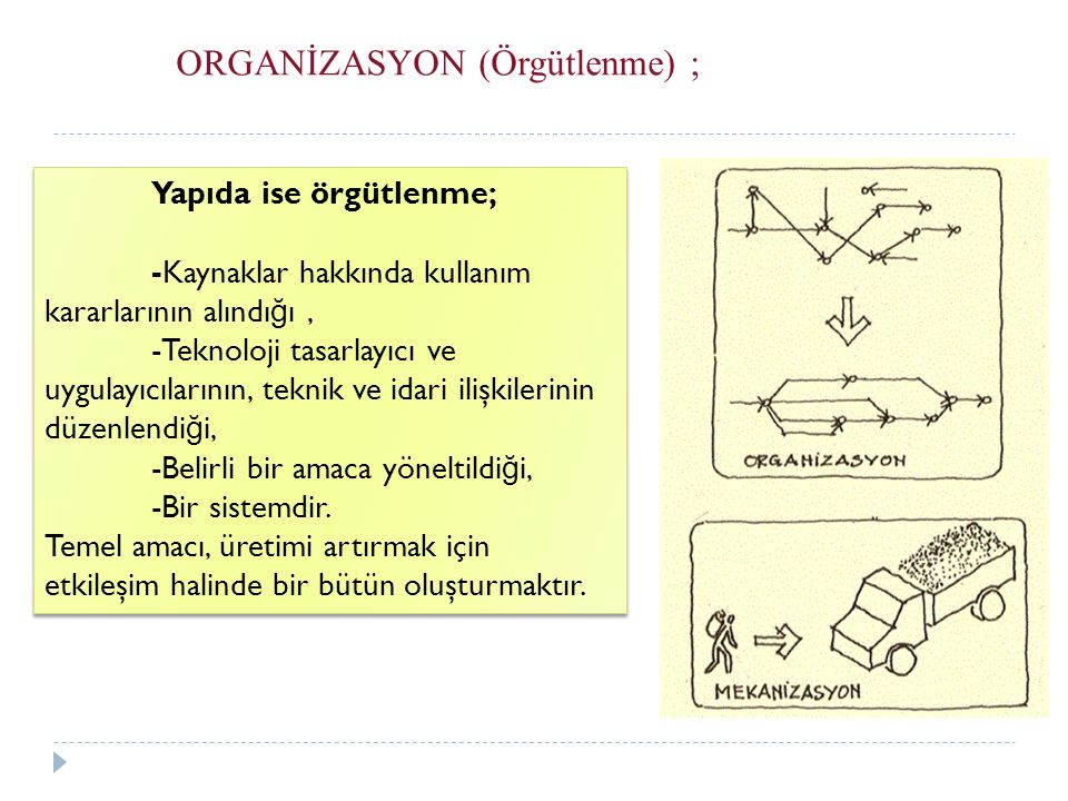 ORGANİZASYON (Örgütlenme) ;