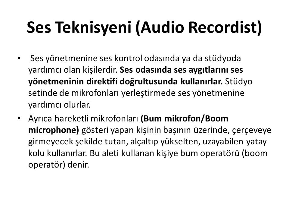 Ses Teknisyeni (Audio Recordist)