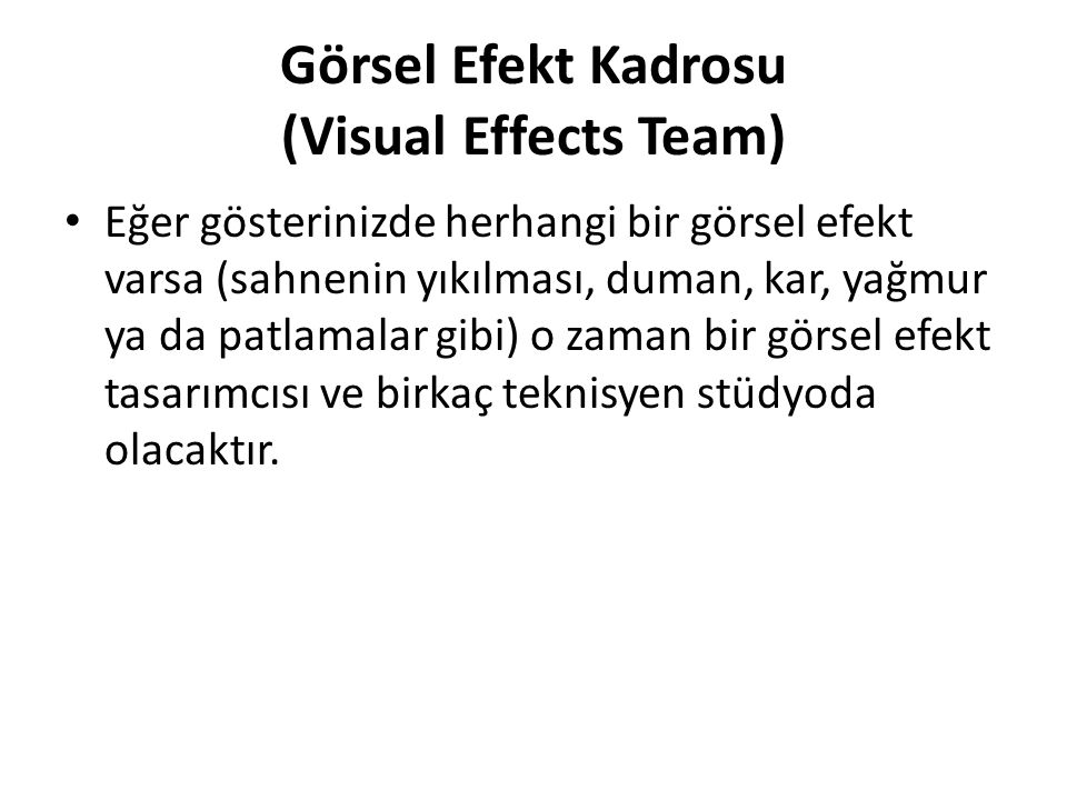 Görsel Efekt Kadrosu (Visual Effects Team)