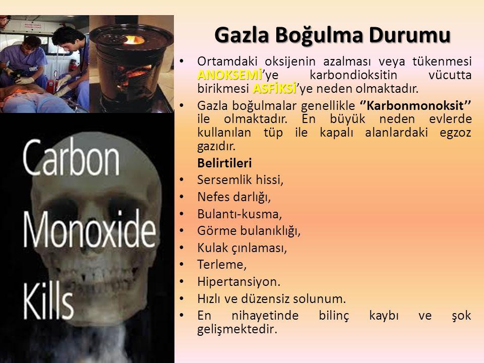 Gazla Boğulma Durumu Ortamdaki oksijenin azalması veya tükenmesi ANOKSEMİ'ye karbondioksitin vücutta birikmesi ASFİKSİ'ye neden olmaktadır.