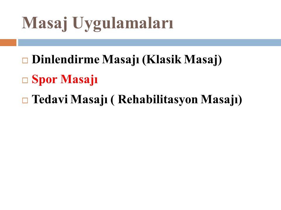 Masaj Uygulamaları Dinlendirme Masajı (Klasik Masaj) Spor Masajı
