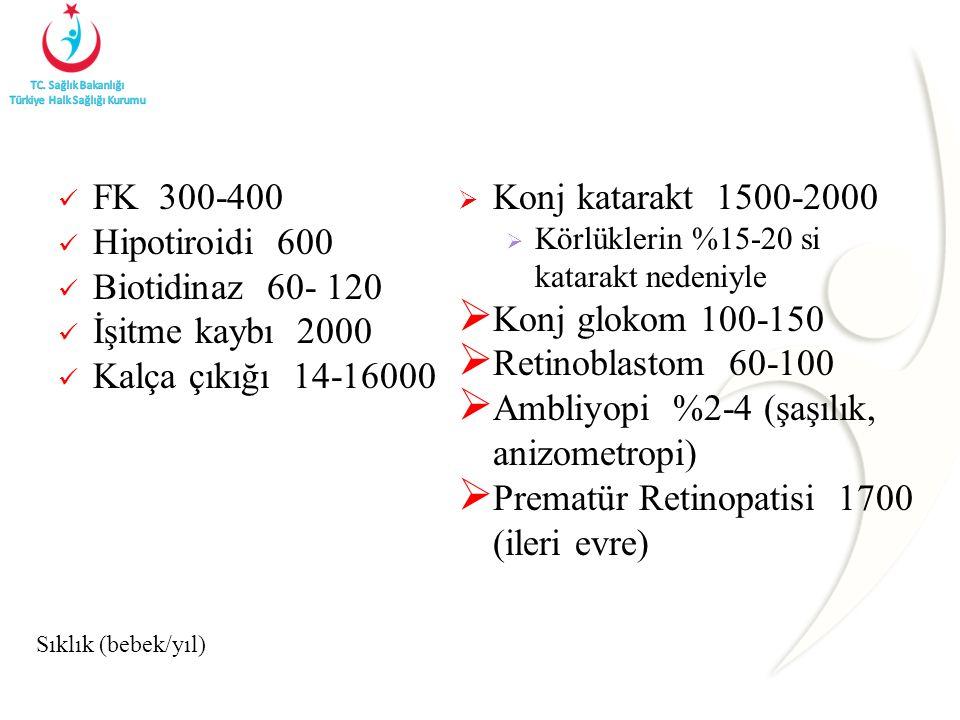 Ambliyopi %2-4 (şaşılık, anizometropi)