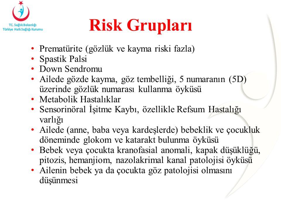 Risk Grupları Prematürite (gözlük ve kayma riski fazla) Spastik Palsi