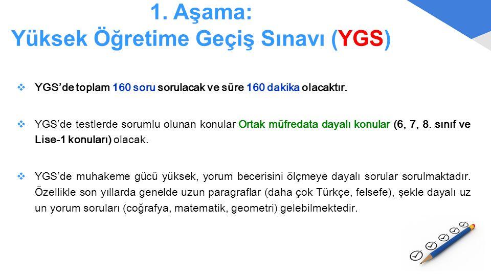 1. Aşama: Yüksek Öğretime Geçiş Sınavı (YGS)