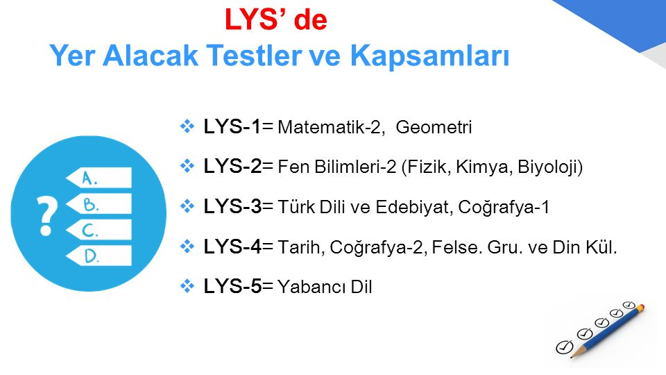 LYS' de Yer Alacak Testler ve Kapsamları