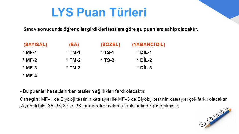 LYS Puan Türleri Sınav sonucunda öğrenciler girdikleri testlere göre şu puanlara sahip olacaktır.