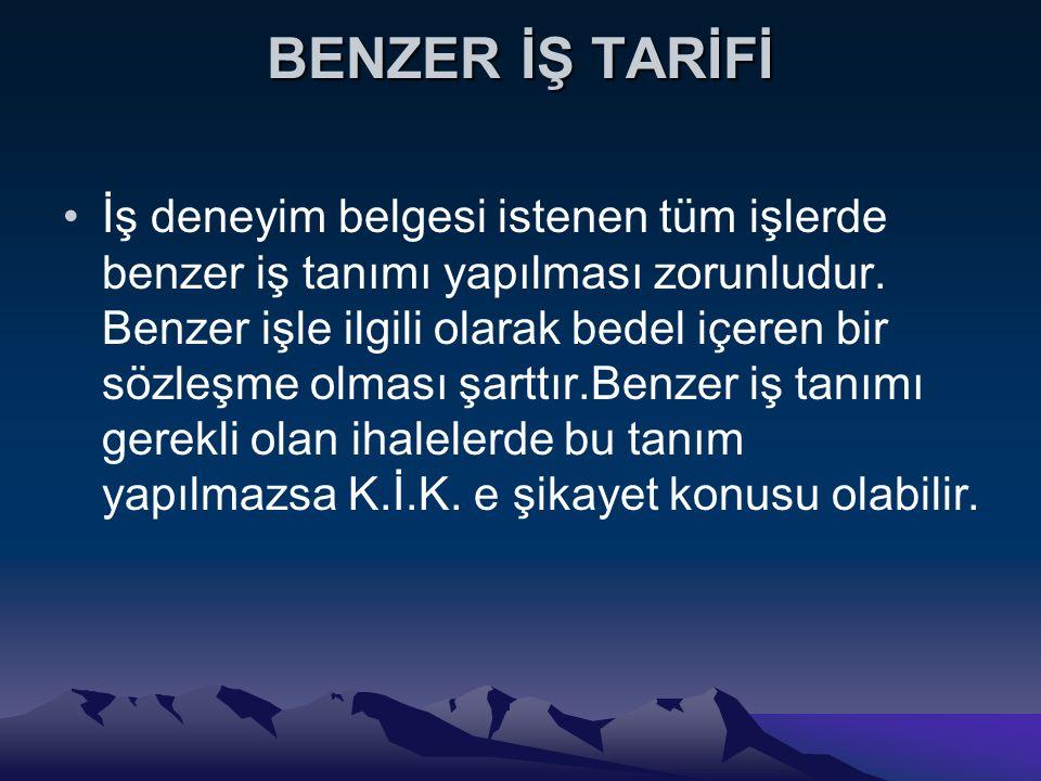 BENZER İŞ TARİFİ