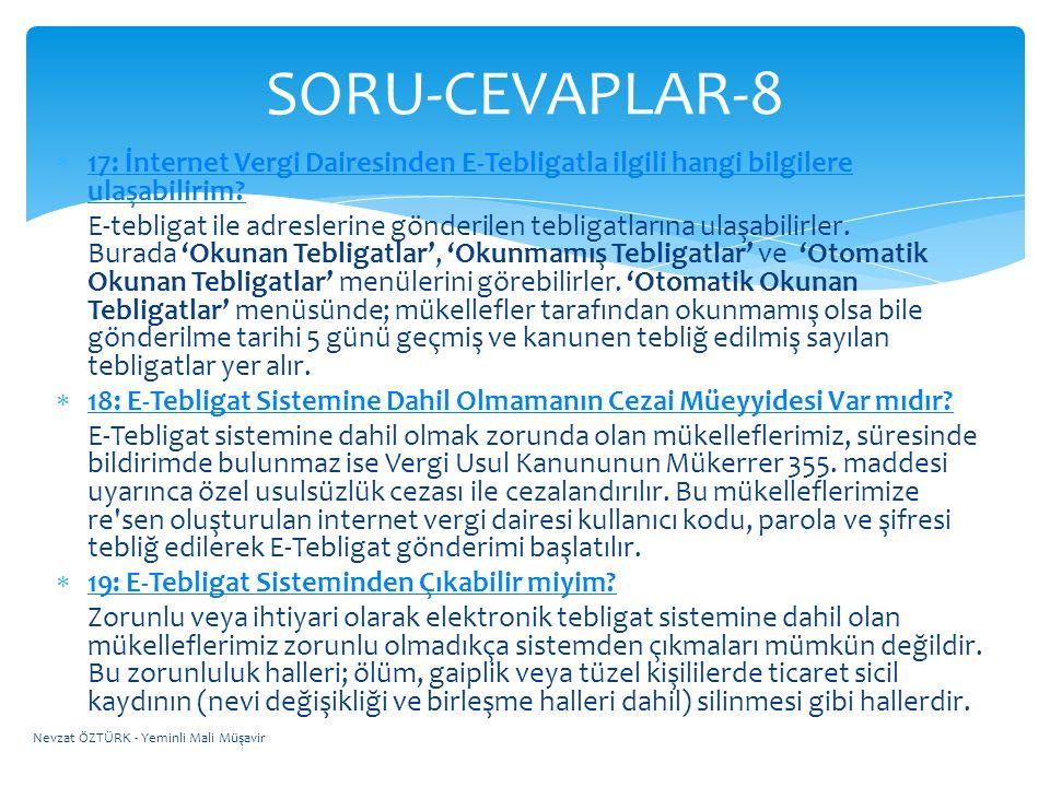 SORU-CEVAPLAR-8 17: İnternet Vergi Dairesinden E-Tebligatla ilgili hangi bilgilere ulaşabilirim