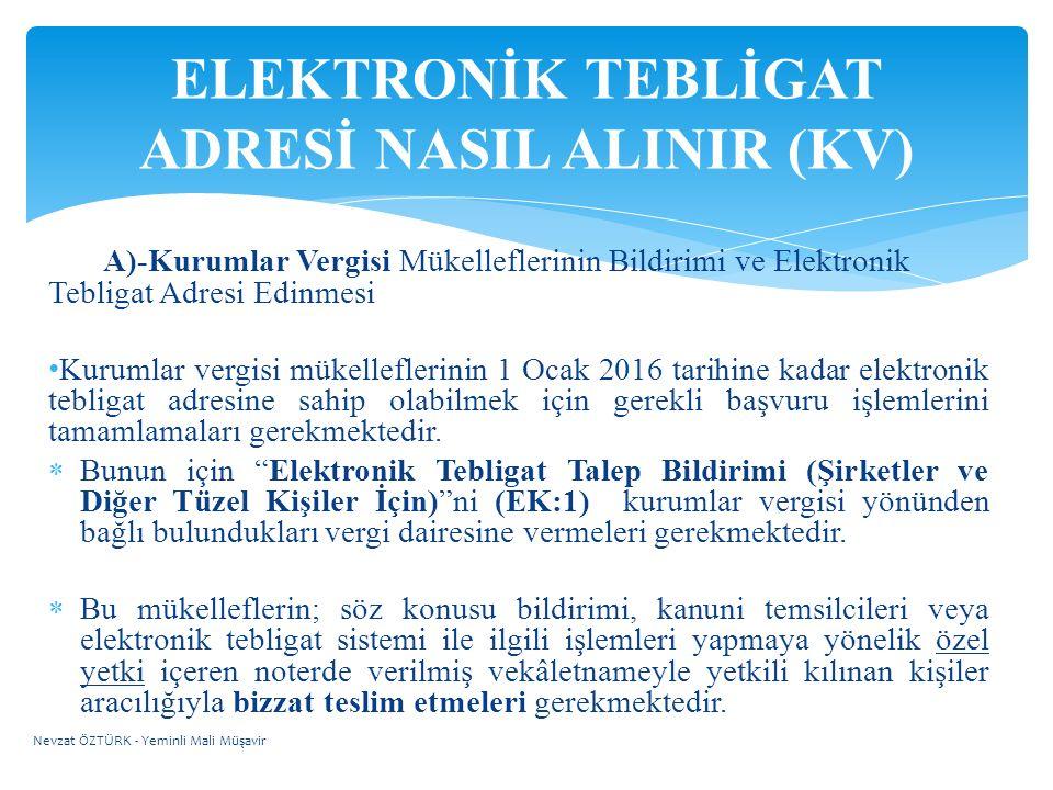 ELEKTRONİK TEBLİGAT ADRESİ NASIL ALINIR (KV)