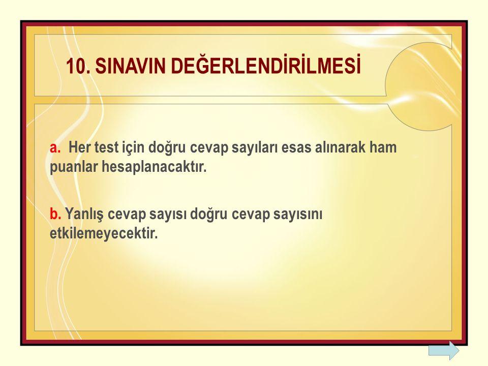 10. SINAVIN DEĞERLENDİRİLMESİ