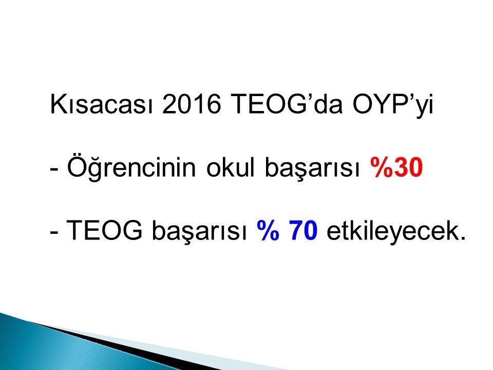 Kısacası 2016 TEOG'da OYP'yi