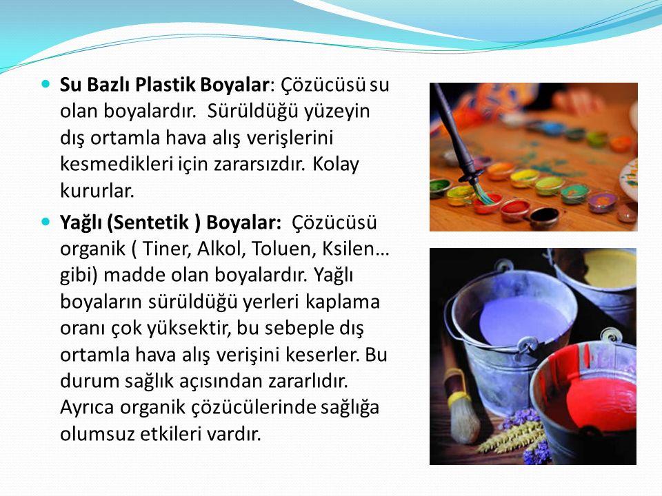 Su Bazlı Plastik Boyalar: Çözücüsü su olan boyalardır