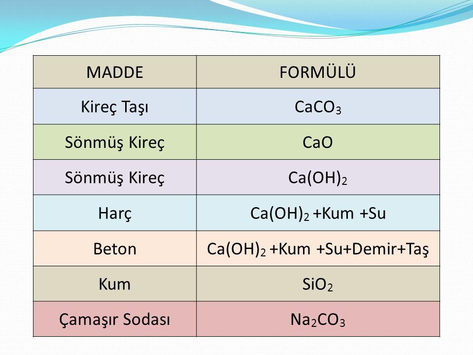 Ca(OH)2 +Kum +Su+Demir+Taş