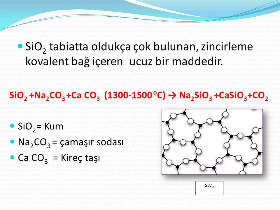 SiO2 tabiatta oldukça çok bulunan, zincirleme kovalent bağ içeren ucuz bir maddedir.