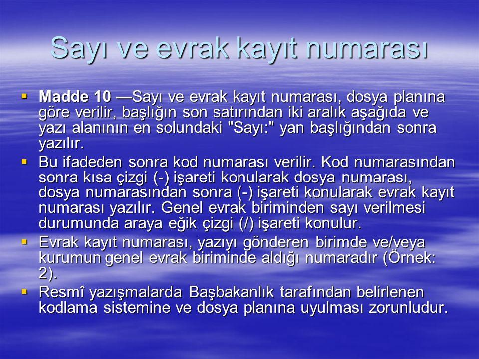 Sayı ve evrak kayıt numarası