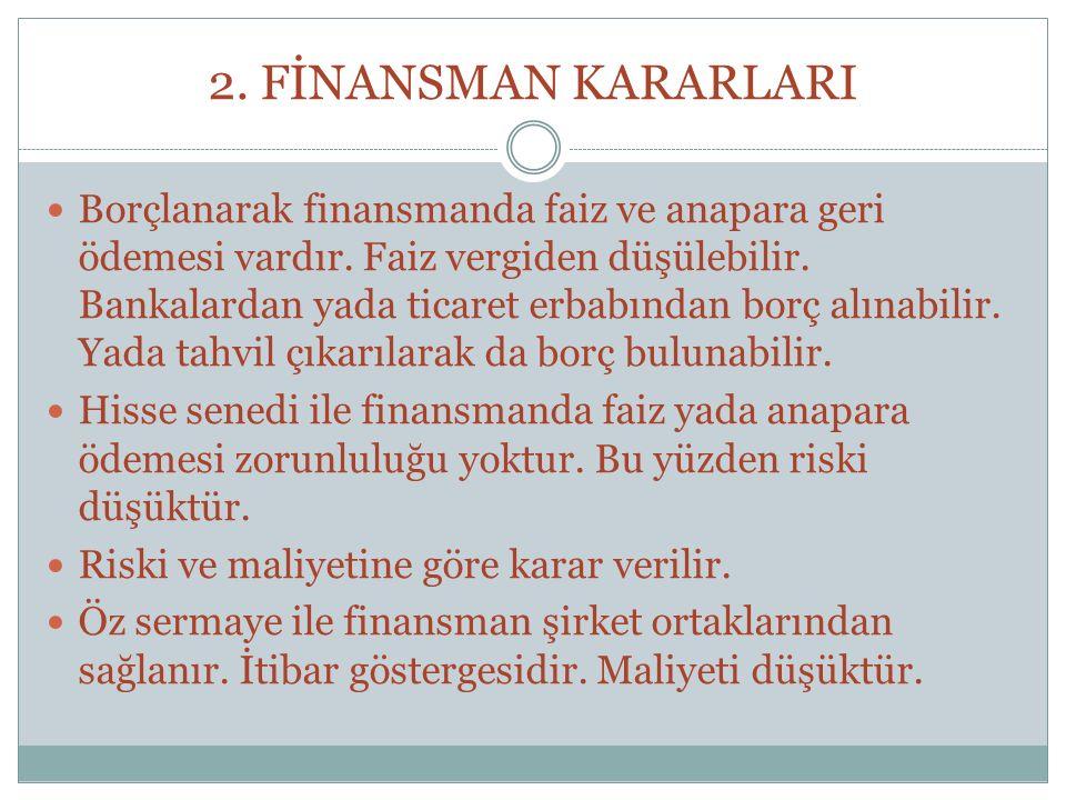 2. FİNANSMAN KARARLARI