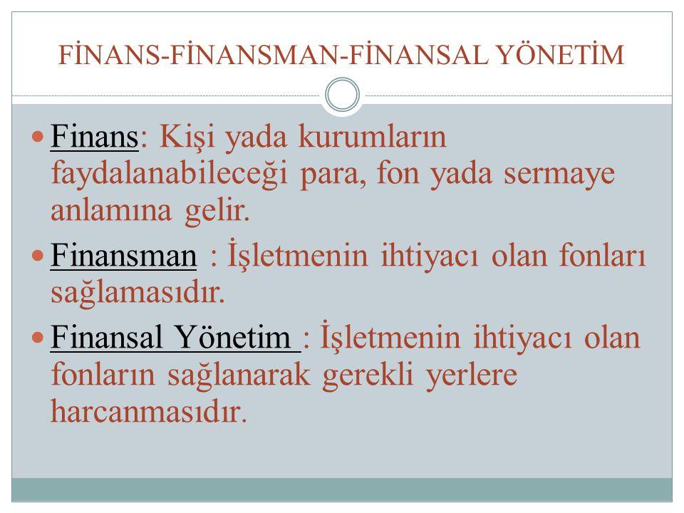 FİNANS-FİNANSMAN-FİNANSAL YÖNETİM