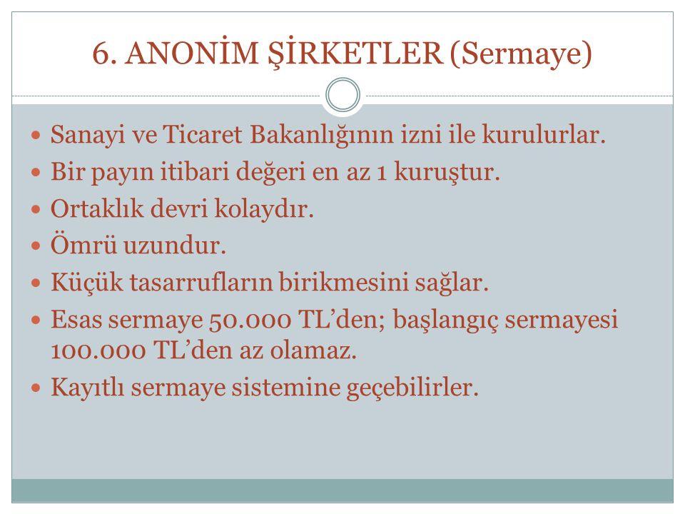 6. ANONİM ŞİRKETLER (Sermaye)