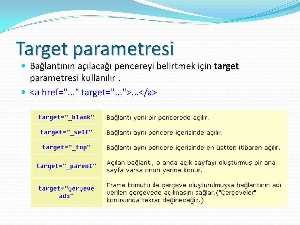 Target parametresi Bağlantının açılacağı pencereyi belirtmek için target parametresi kullanılır .