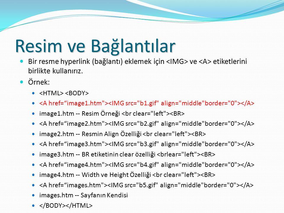 Resim ve Bağlantılar Bir resme hyperlink (bağlantı) eklemek için <IMG> ve <A> etiketlerini birlikte kullanırız.