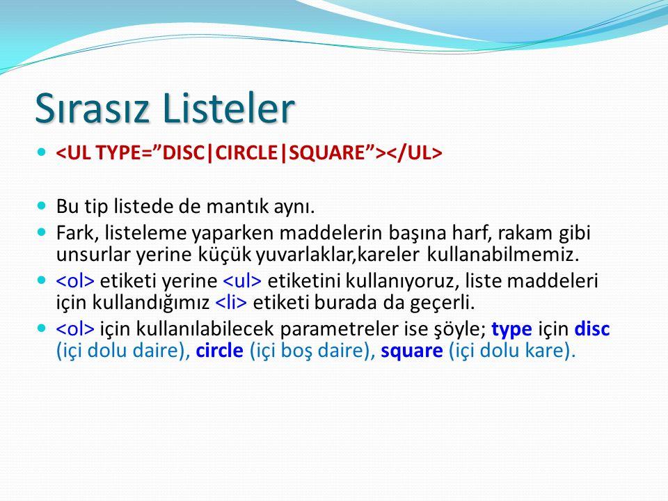 Sırasız Listeler <UL TYPE= DISC|CIRCLE|SQUARE ></UL>