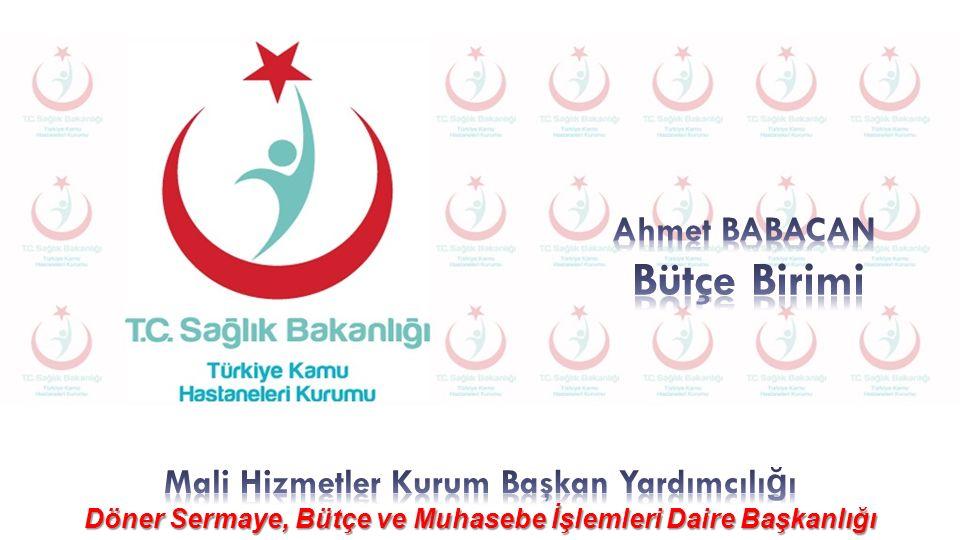Bütçe Birimi Ahmet BABACAN Mali Hizmetler Kurum Başkan Yardımcılığı