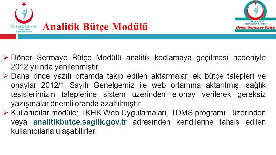 Analitik Bütçe Modülü Döner Sermaye Bütçe Modülü analitik kodlamaya geçilmesi nedeniyle 2012 yılında yenilenmiştir.