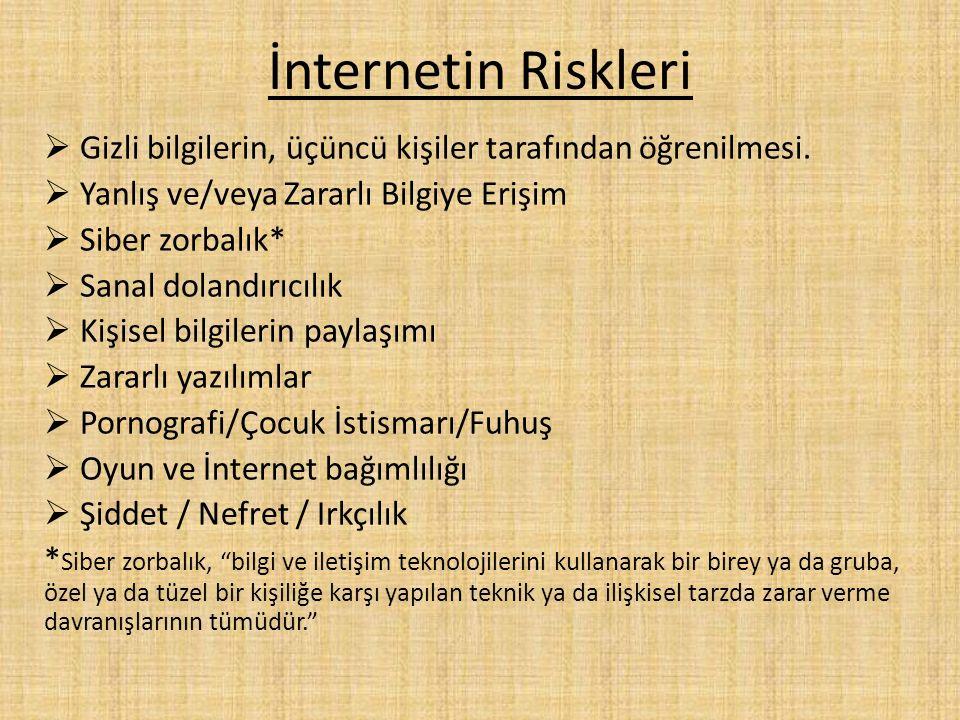 İnternetin Riskleri Gizli bilgilerin, üçüncü kişiler tarafından öğrenilmesi. Yanlış ve/veya Zararlı Bilgiye Erişim.