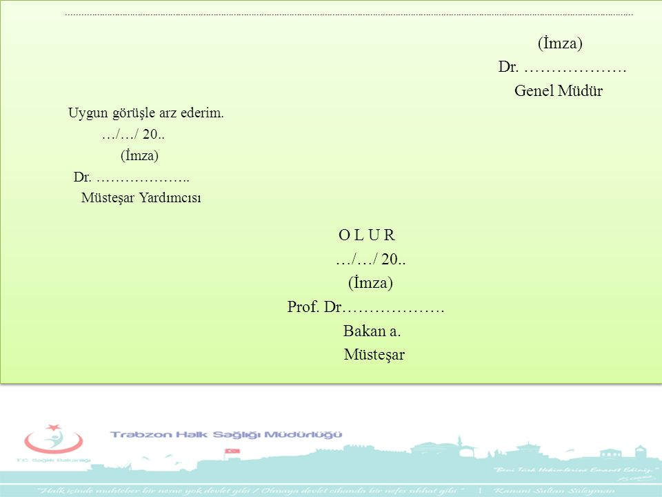 Dr. ………………. Genel Müdür O L U R Prof. Dr………………. Bakan a. Müsteşar