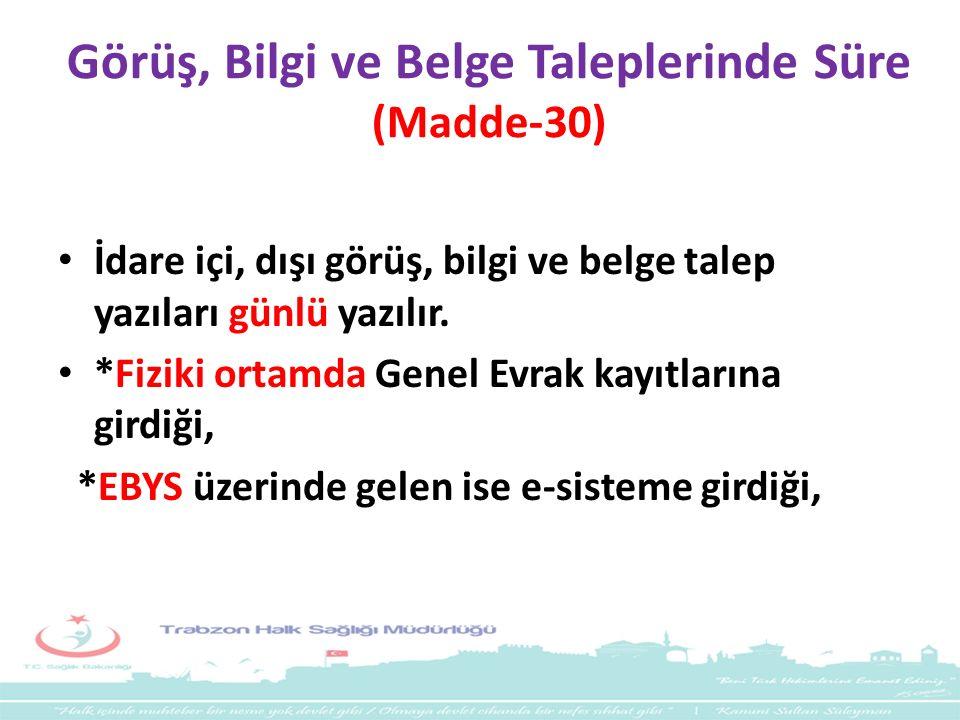 Görüş, Bilgi ve Belge Taleplerinde Süre (Madde-30)