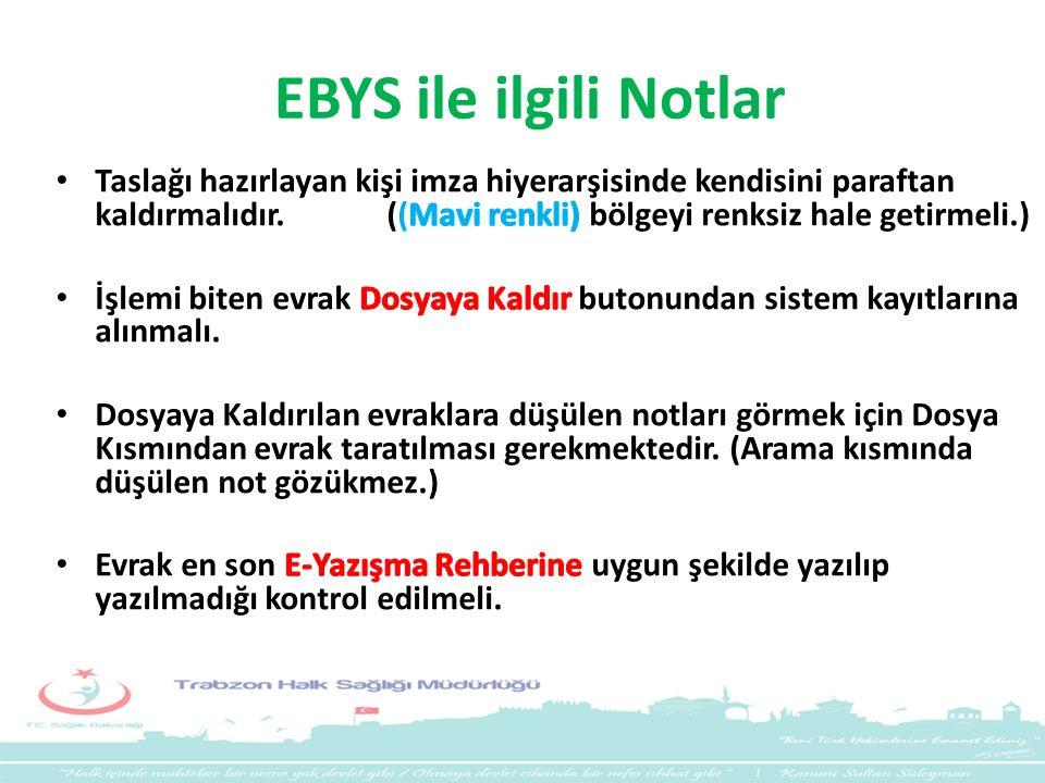 EBYS ile ilgili Notlar