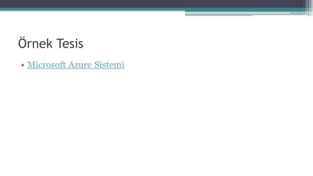 Örnek Tesis Microsoft Azure Sistemi