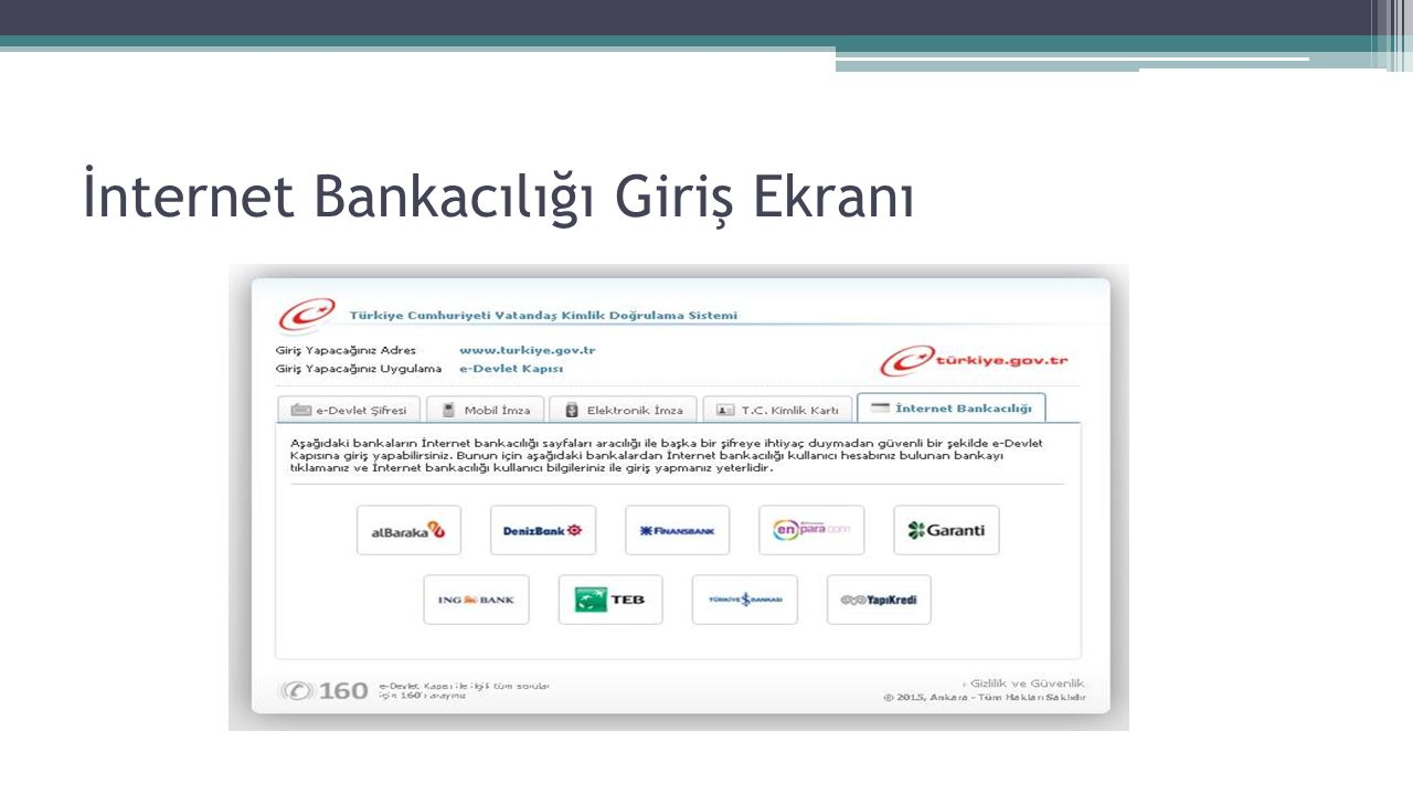 İnternet Bankacılığı Giriş Ekranı