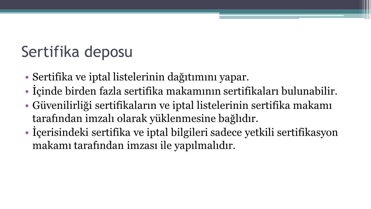 Sertifika deposu Sertifika ve iptal listelerinin dağıtımını yapar.