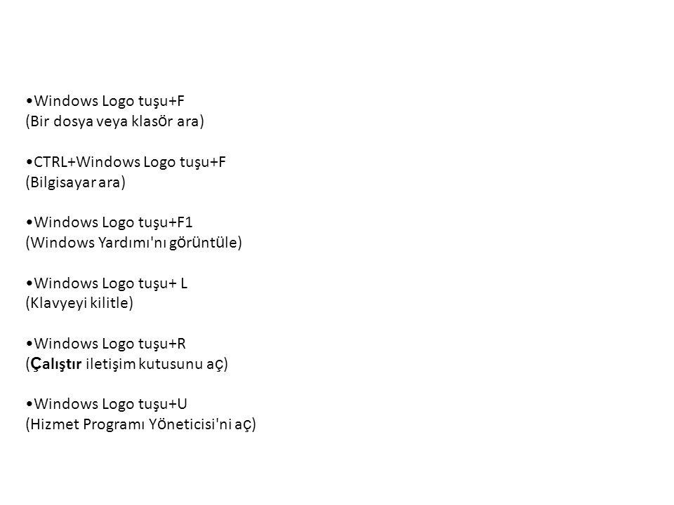Windows Logo tuşu+F (Bir dosya veya klasör ara) CTRL+Windows Logo tuşu+F. (Bilgisayar ara) Windows Logo tuşu+F1.