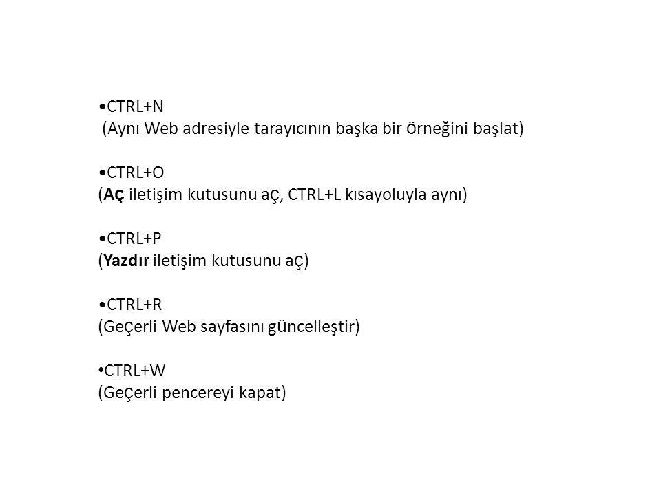 CTRL+N (Aynı Web adresiyle tarayıcının başka bir örneğini başlat) CTRL+O. (Aç iletişim kutusunu aç, CTRL+L kısayoluyla aynı)